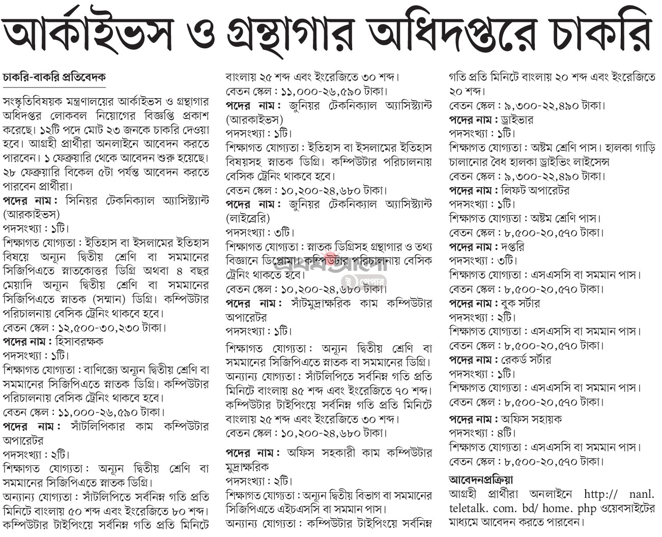 Department of Archives and Library Job Circular 2021